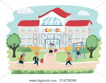 Vector cartoon illustation of school children going to school. Girls and boys in hurry