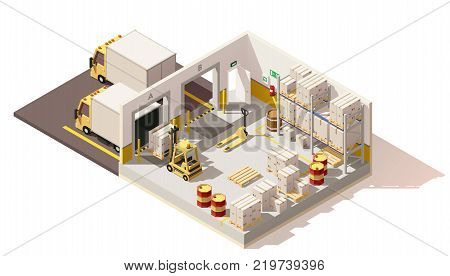 Vector isometric low poly warehouse cross section