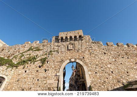 Catania Door (Porta Catania) old gateway in the Taormina town Messina Sicily island Italy