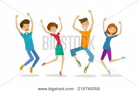 Happy young people, teenagers. Partying, cartoon vector illustration isolated on white background