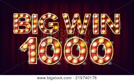 Big Win 1000 Banner Vector. Casino Lamps. Fortune Illustration