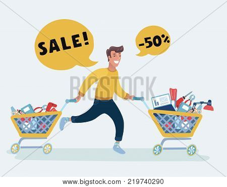 Vector cartoon funny running man greedy pushing supermarket trolleys full of products. Shopping in the supermarket with a trolley. Sale concept horisontal banner