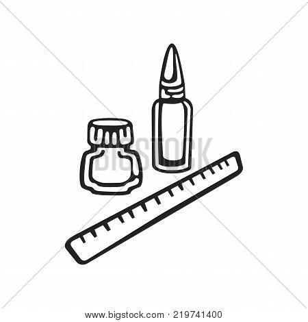 Vector hand drawn icon of clerical isolated on white background