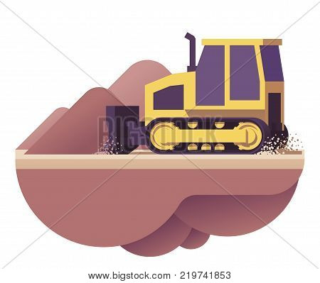 Vector low poly bulldozer moving dirt icon
