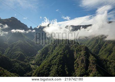 Pico do Arieiro seen from Balcoes Viewpoint Ribeiro Firo Madeira Portugal