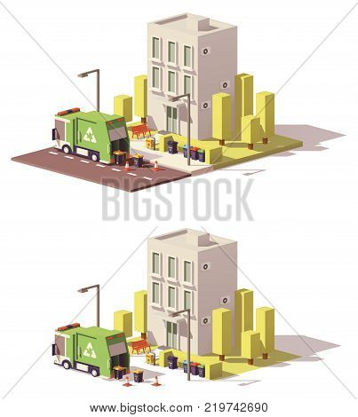 Vector low poly building with garbage truck and separated waste containers