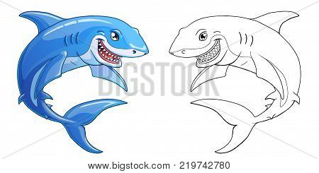The friendly cheerful kind smiling shark color full and contour line on a white background. Marine predatory animal fish. Cartoon vector illustration. Page of a coloring.
