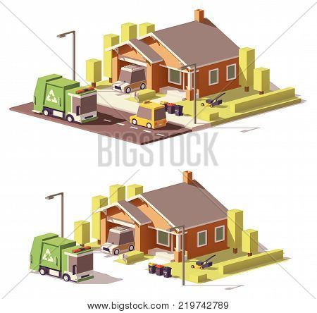 Vector low poly house with garbage truck and separated waste containers