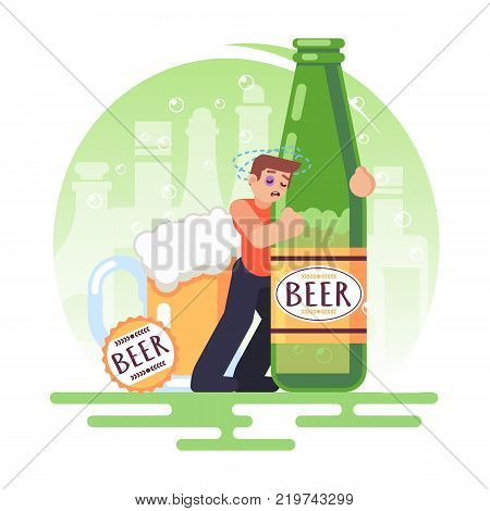 Alcohol Addicted People Man With A Bottle Of Beer. Alcoholism. Vector Colorful Illustration In Flat