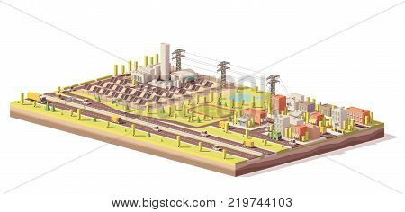 Vector low poly solar power plant infrastructure. Includes solar panels, power line and city nearby