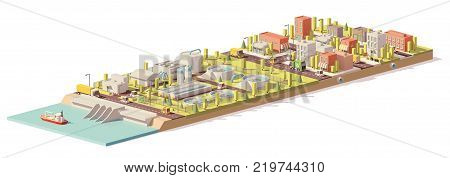 Vector low poly water treatment and consumption illustration. Includes water treatment plant and city