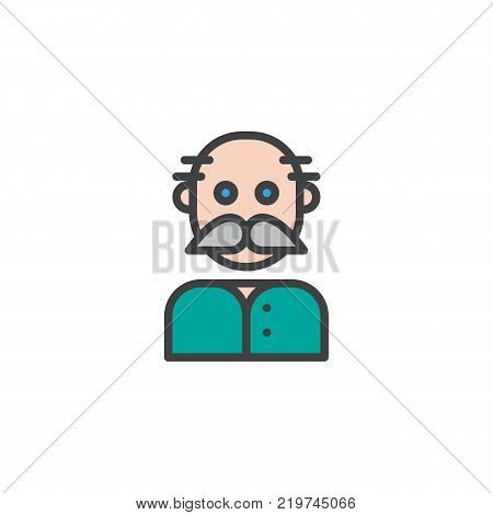 Grandfather filled outline icon, line vector sign, linear colorful pictogram isolated on white. Old man grandpa symbol, logo illustration. Pixel perfect vector graphics