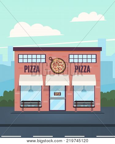 Pizzeria in the background of the city. Pizzeria facade. Vector illustration in a flat style