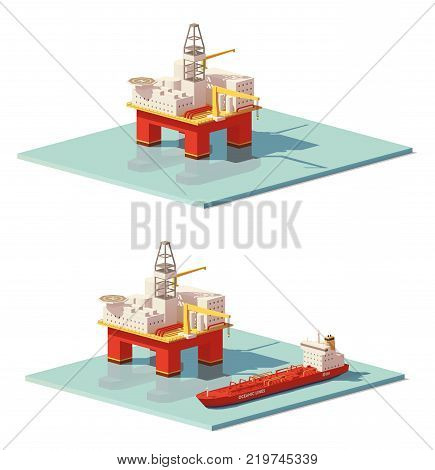 Vector low poly offshore oil rig drilling platform and oil tanker ship