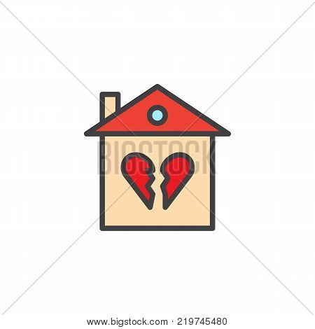 Broken family house filled outline icon, line vector sign, linear colorful pictogram isolated on white. Home with broken heart symbol, logo illustration. Pixel perfect vector graphics