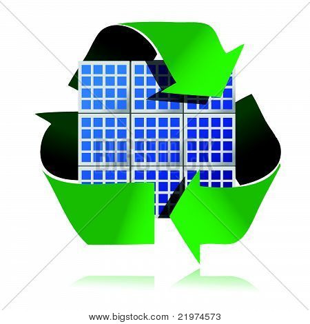 renewable energy solar panels on a white background