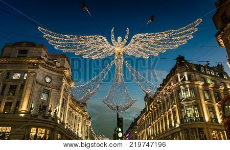 Christmas Angels Holiday lights on Regent Street