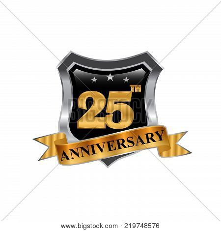 25 years anniversary vector icon logo. Graphic design element with golden 3D numbers for 5th anniversary decoration