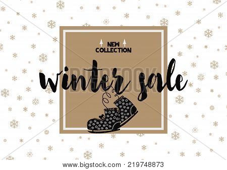 Winter sale card with calligraphy font and skates. Geometric vector illustration. Cand be used as selling card, poster, flyer, coupon. Scandinavian style