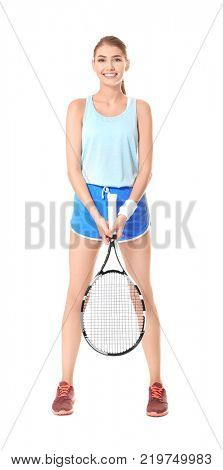 Young woman with tennis racket on white background