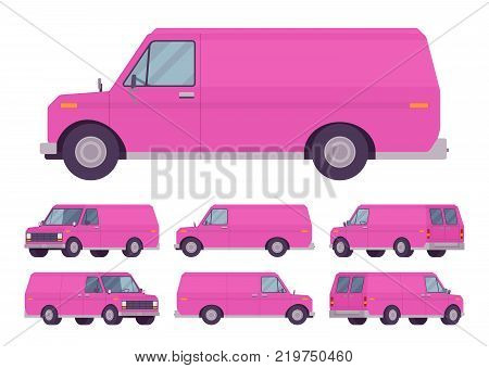 Pink van set. Road vehicle for transporting goods, medium-sized motor delivery truck for commercial service and business needs. Vector flat style cartoon illustration isolated on white background