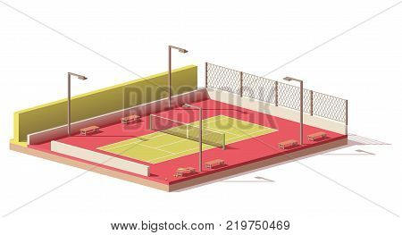 Vector low poly street tennis court icon