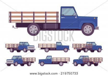Navy blue empty truck. Vehicle to transport large amounts of cargo, open car for carrying goods and materials. Vector flat style cartoon illustration isolated on white background, different positions