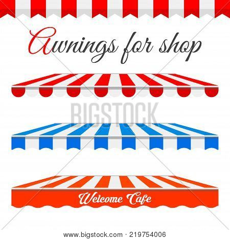 Striped Awnings For Shop in Different Forms. Red and White Border with Sample Text. Red and White, Blue and White Awnings Isolated an a White Background. Design Elements.
