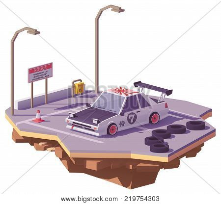 Vector low poly classic Japanese drift car on the car parking lot
