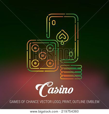 Casino, Games of Chance Vector Icon, Print, Line Art Emblem plus Dark Mesh Blurred Background.