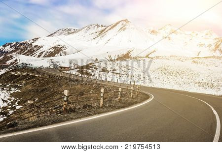 Landscape with views of winter winding military road in Georgia