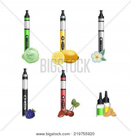 Vape device set cigarette vaporizer vapor juice bottle. Vector illustration