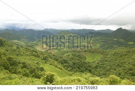 Mountain Expanses Lush, Rainy Season