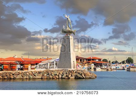 NESEBAR, BULGARIA - July 17, 2013: Monument of St. Nicholas in Nessebar is dedicated to St. Nicholas the patron saint of the navigators. Established in 2006. Author - Stavri Kalinov.