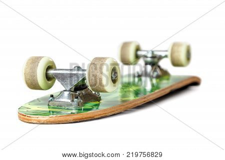skateboard medium price category, with traces of usage on white background