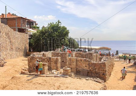 SOZOPOL, BULGARIA - July 16, 2013: Continuing excavations on the objects