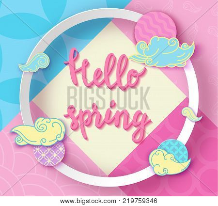 Hello spring pop art poster with japan wave pattern, lettering, modern banner or background in trendy paper cut geometric style, chinese eastern ornament, trendy vector fashion invitation, gift card