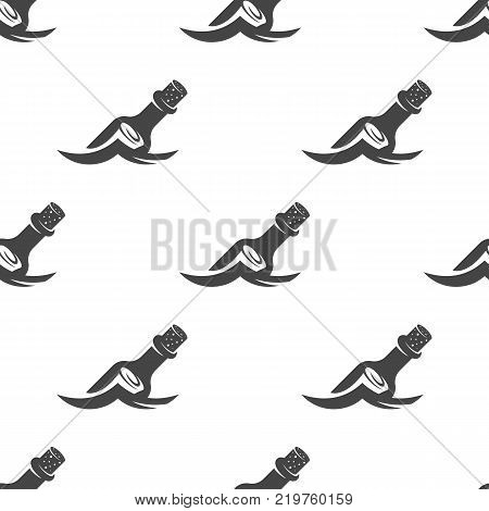 Message in a bottle floating on the wave seamless pattern. Vector illustration for backgrounds
