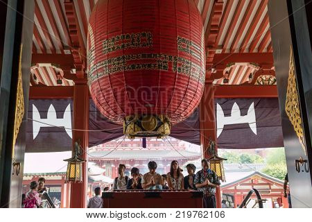 Tokyo - Japan, June 17, 2017;  Entrance to the main building of the Senso-ji temple, the room called