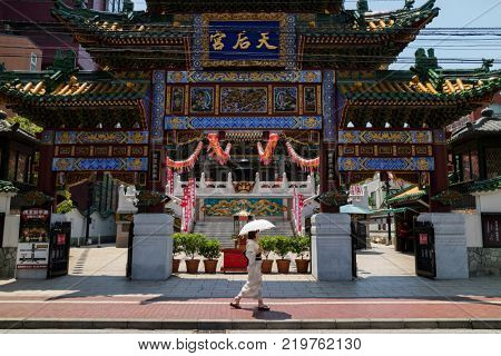 Yokohama - Japan, June 16, 2017; Chinese Mazu Miao Temple in China town in Yokohama city, Mazu, the Goddess of the Sea is worshipped at the Mazu Temple.