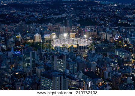 Yokohama - Japan, June 15, 2017 ; Yokohama baseball stadium viewed from the observation deck of Landmark Tower at twilight