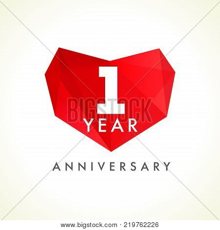1 year anniversary heart logo. Template emblem of 1 year celebration in facet heart shape. Vector illustration