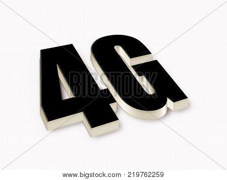 4G 3d black text. 3D illustration stock.