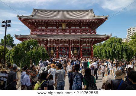 Tokyo - Japan, June 17, 2017; Tourists at Edo era Hozomon entrance of Sensoji, also known as Asakusa Kannon Temple, Asakusa