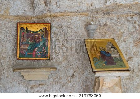 Near Mitzpe Yeriho Israel November 25 2017 : Icons in the cell in the monastery of St. George Hosevit (Mar Jaris) in Wadi Kelt near Mitzpe Yeriho in Israel