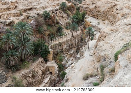Near Mitzpe Yeriho Israel November 25 2017 : The dried river bed near to the monastery of St. George Hosevit (Mar Jaris) in Wadi Kelt near Mitzpe Yeriho in Israel