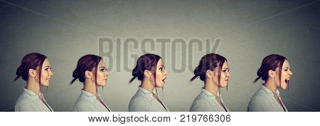 Mood swing. Woman expressing different emotions and feelings