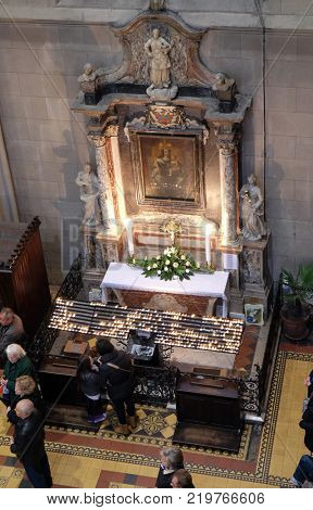 ZAGREB, CROATIA - APRIL 05: Altar of the Virgin Mary in Zagreb cathedral dedicated to the Assumption of Mary in Zagreb on April 05, 2015