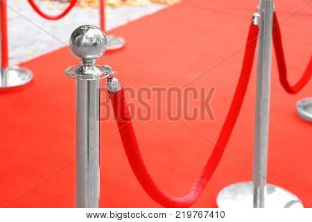 Rope barrier on red carpet