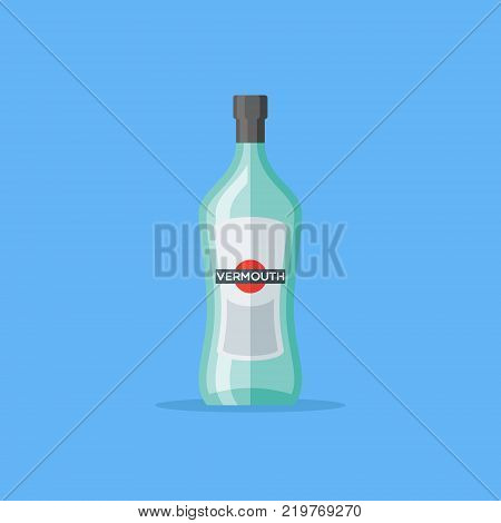 Bottle of vermouth isolated on blue background. Flat style icon. Vector illustration.